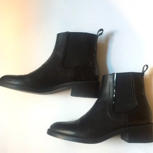 Zara Leather Chelsea Boots with Croc detail